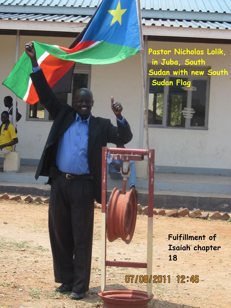 Pastor Nicholas Lolik With new South Sudan Flag
