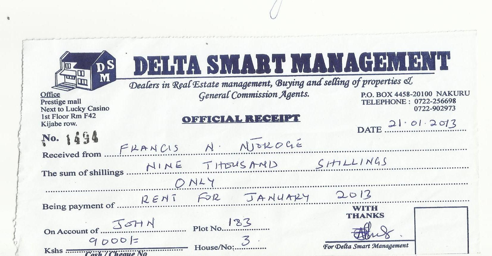apartment rent receipt – Home Rental Receipt