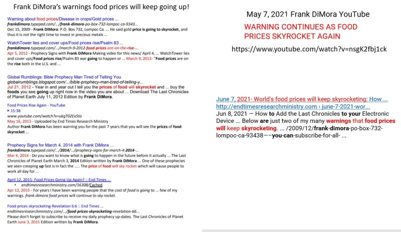 Food prices warnings